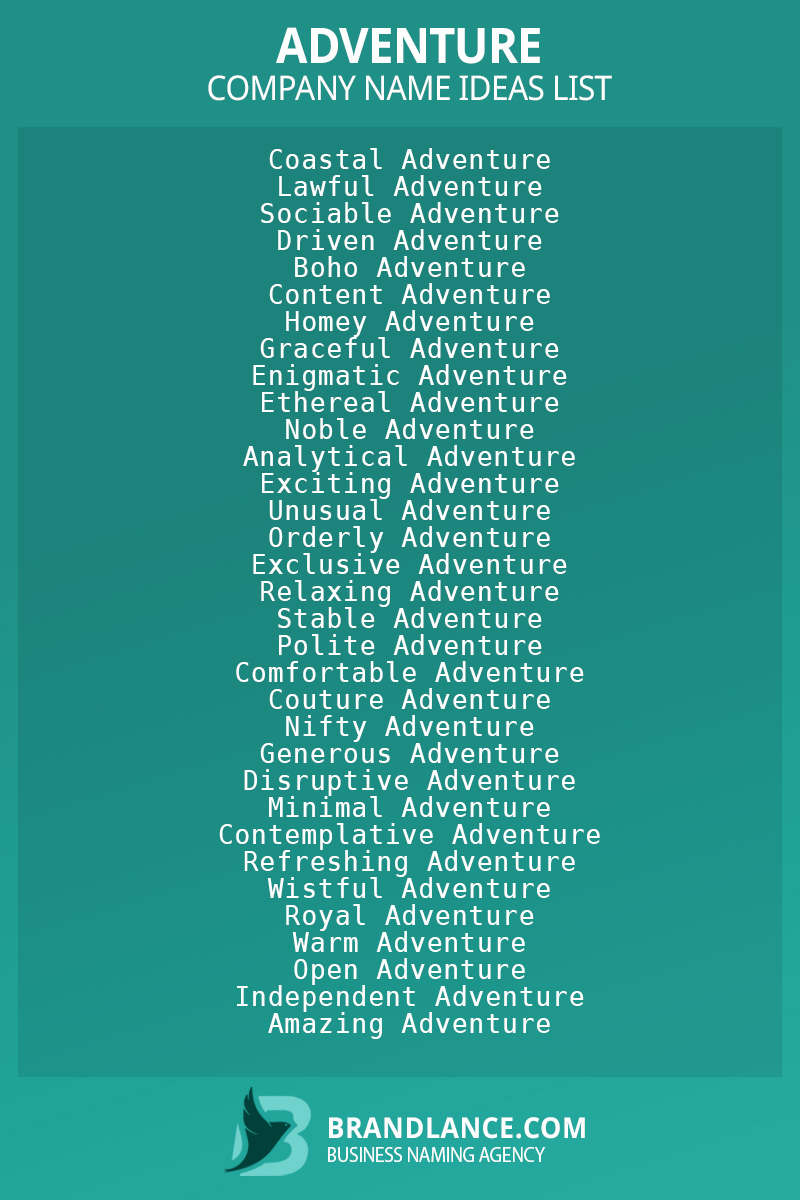 Adventure business naming suggestions from Brandlance naming experts