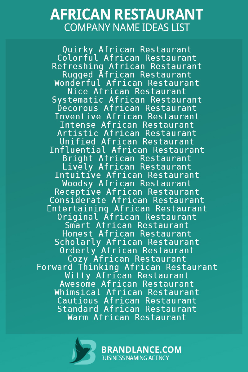 African restaurant business naming suggestions from Brandlance naming experts