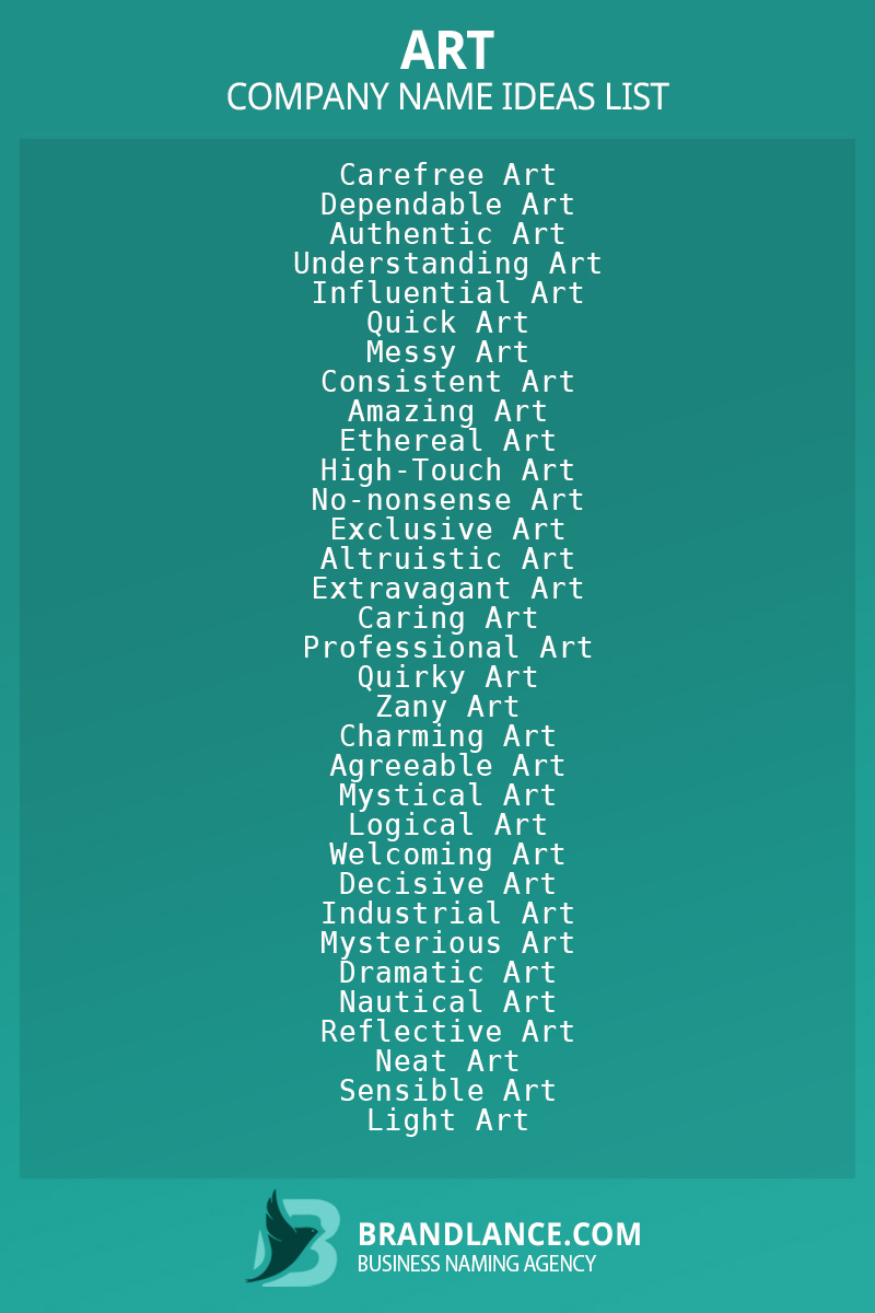 Art business naming suggestions from Brandlance naming experts