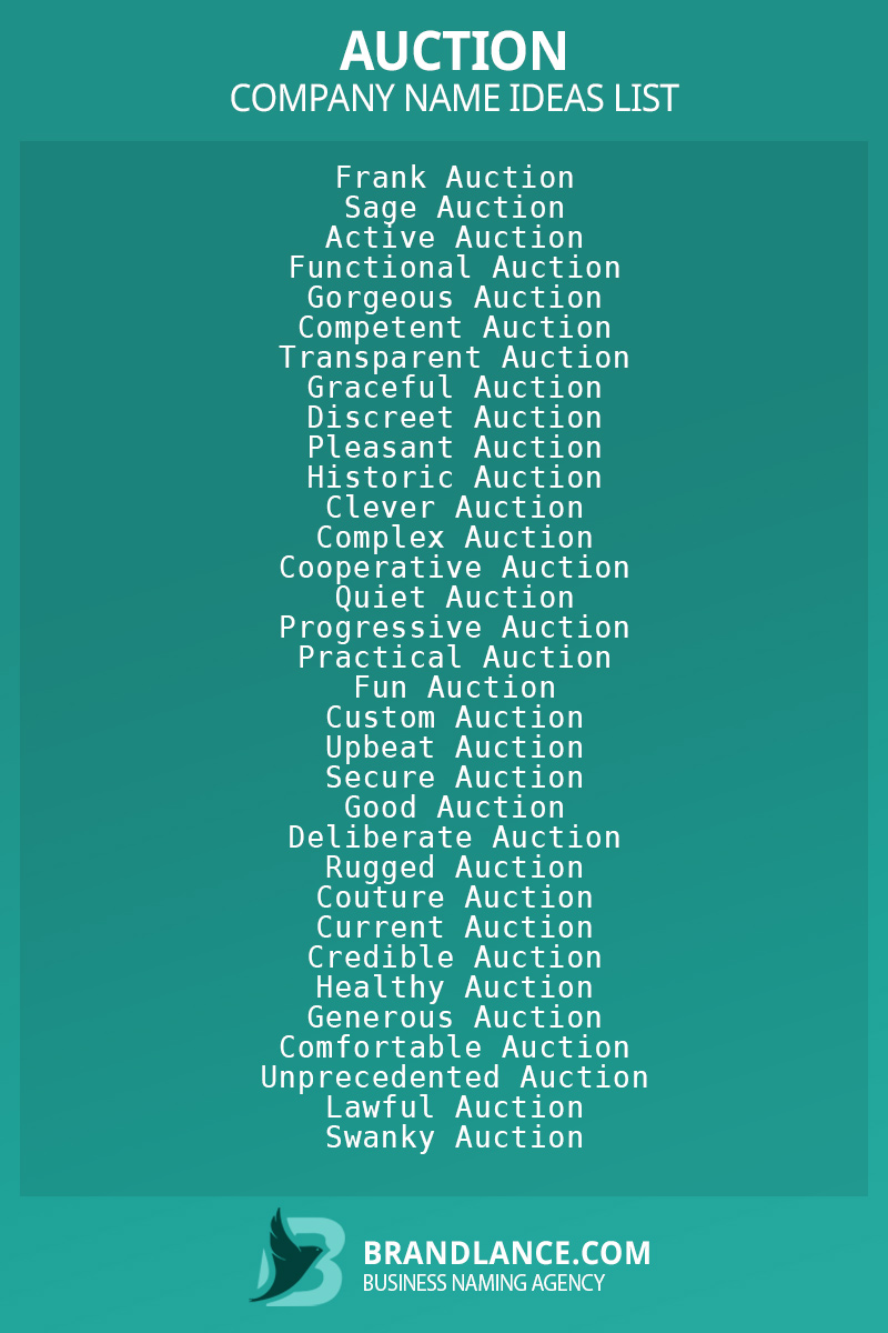Auction business naming suggestions from Brandlance naming experts