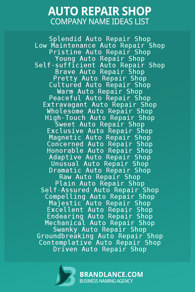 Auto repair shop business naming suggestions from Brandlance naming experts