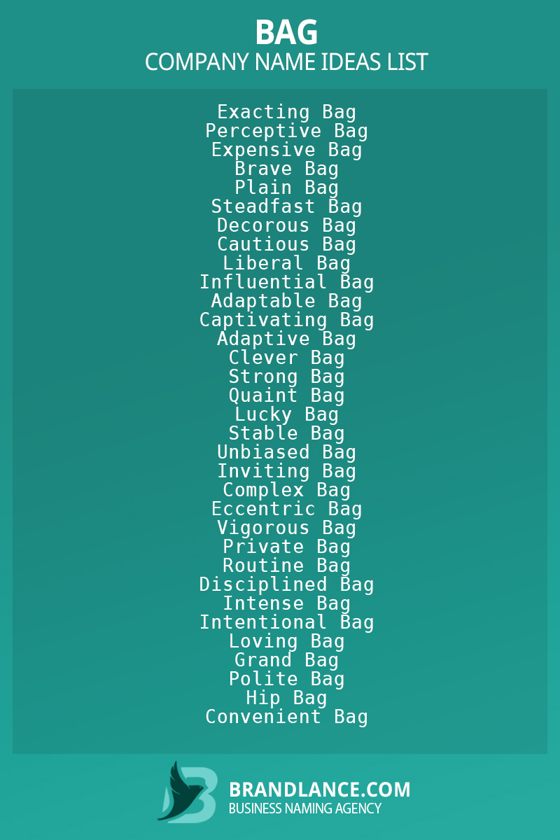 Bag business naming suggestions from Brandlance naming experts