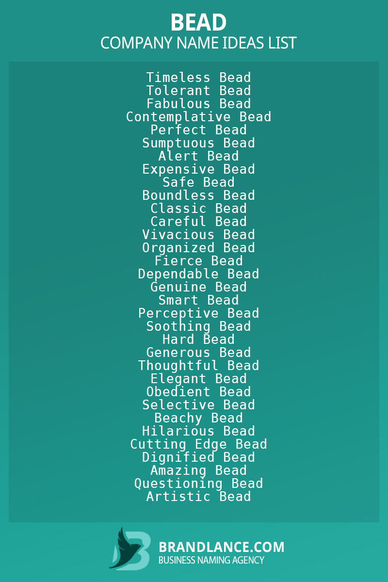 Bead business naming suggestions from Brandlance naming experts