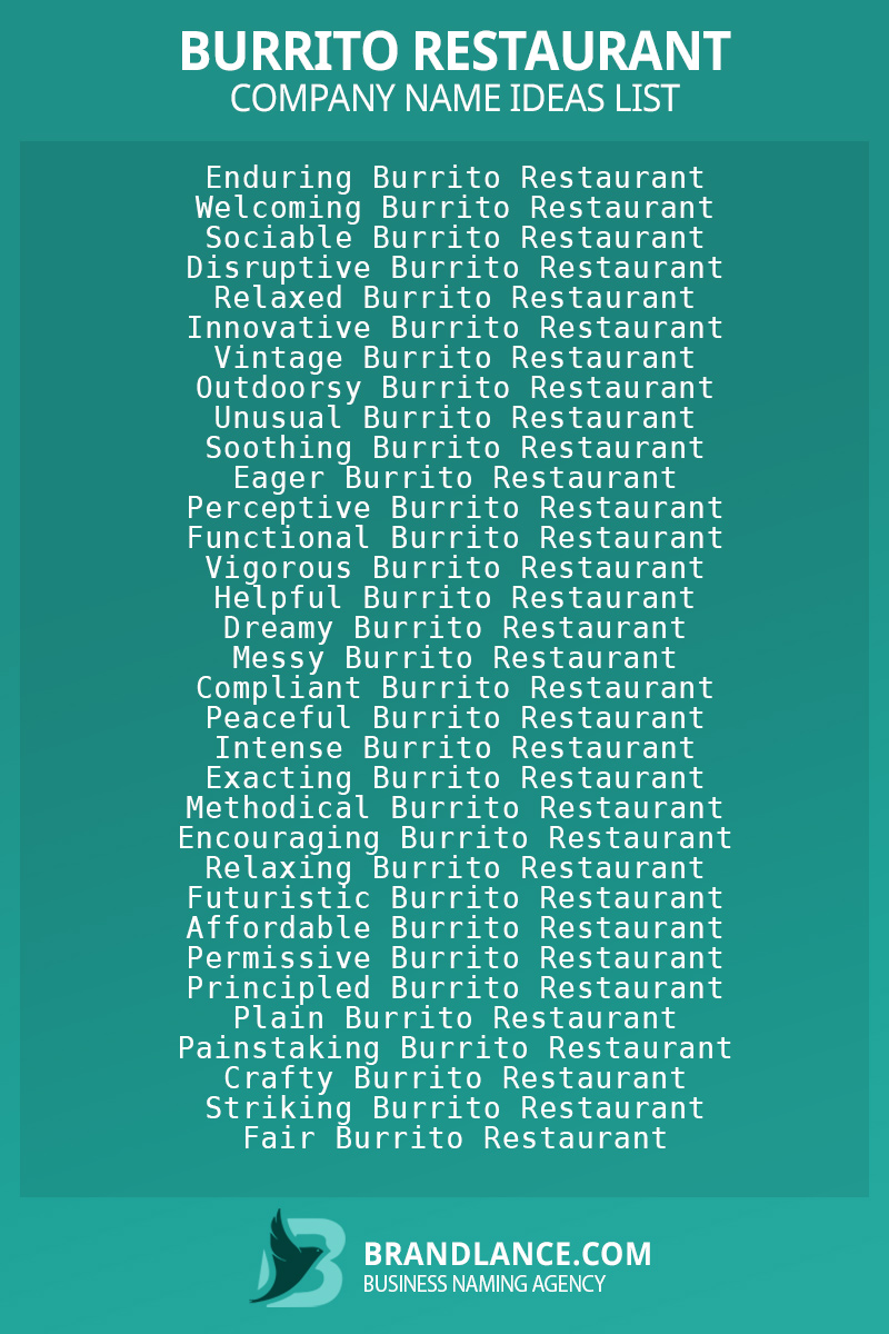 Burrito restaurant business naming suggestions from Brandlance naming experts