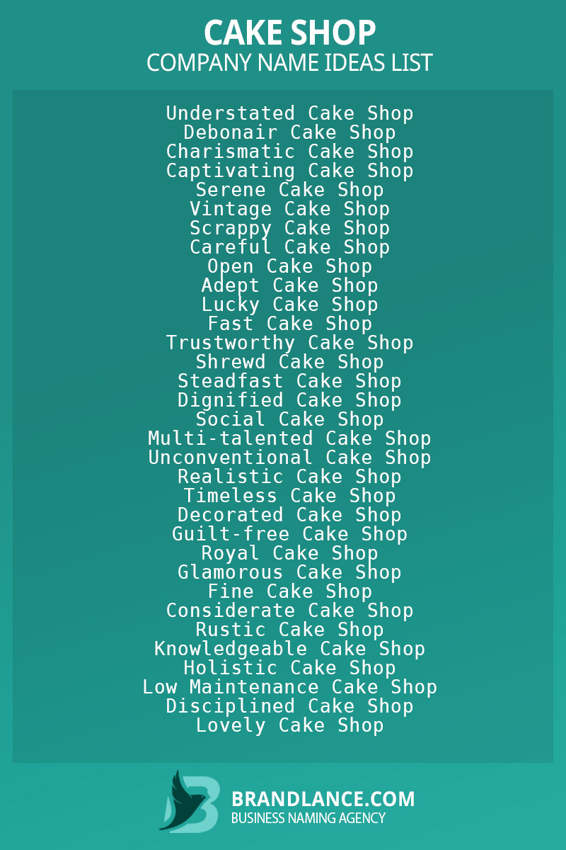 Cake shop business naming suggestions from Brandlance naming experts