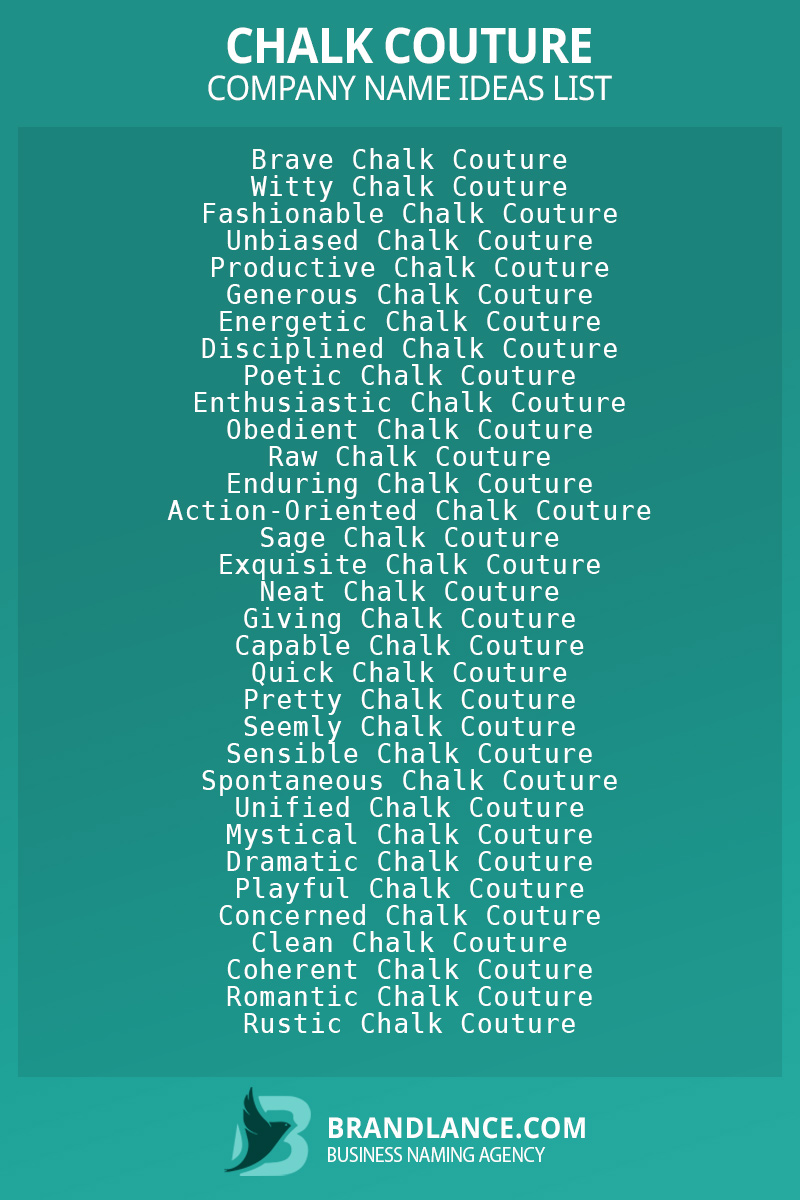 Chalk couture business naming suggestions from Brandlance naming experts