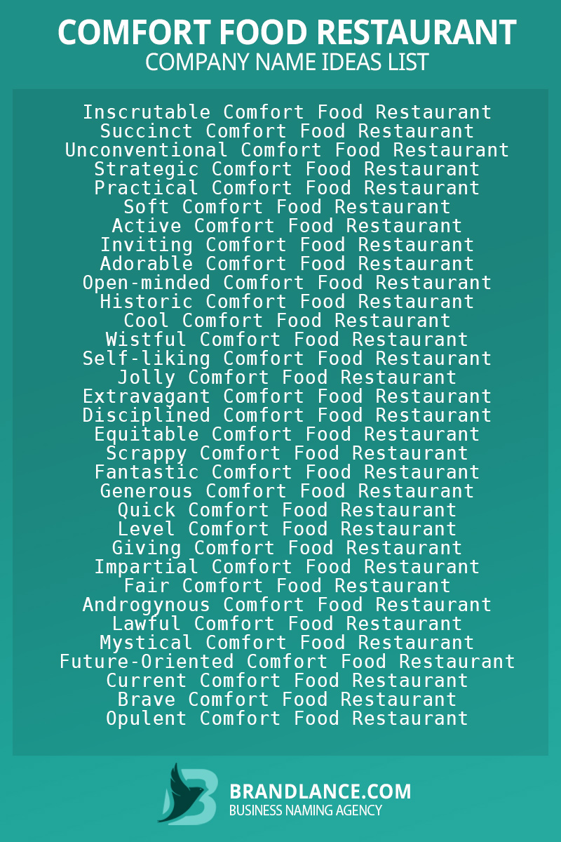Comfort food restaurant business naming suggestions from Brandlance naming experts