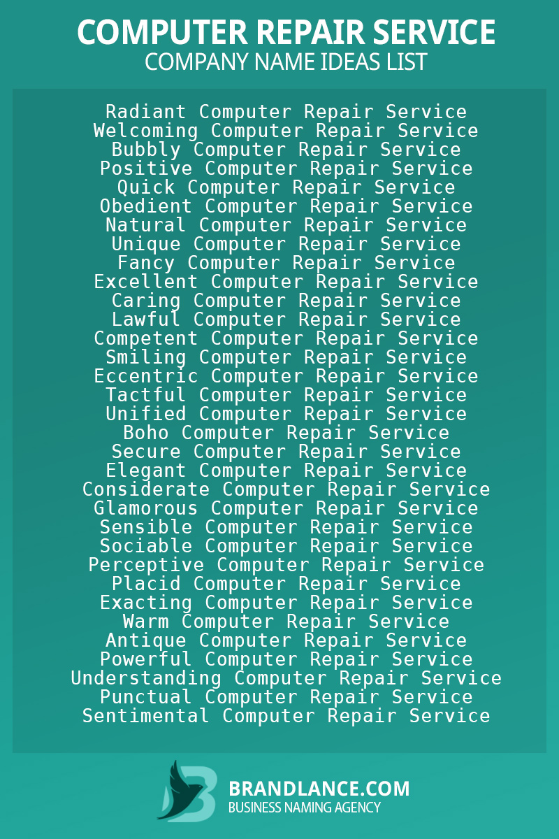 Computer repair service business naming suggestions from Brandlance naming experts