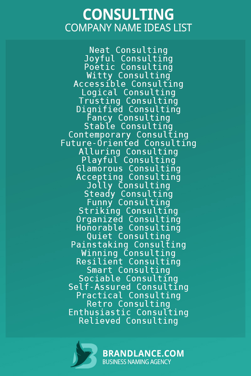 Consulting business naming suggestions from Brandlance naming experts