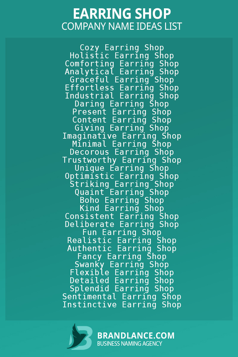 Earring shop business naming suggestions from Brandlance naming experts