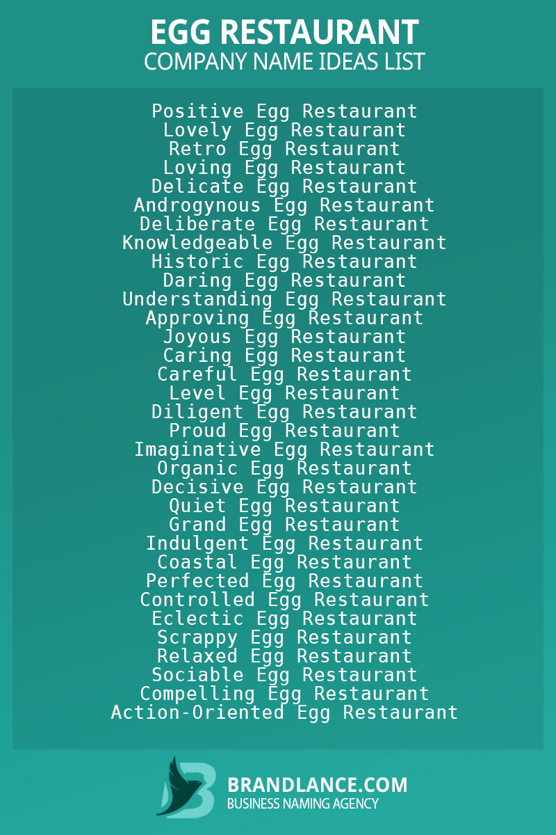Egg restaurant business naming suggestions from Brandlance naming experts