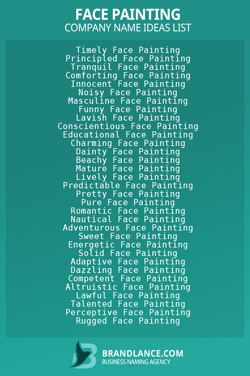 Face painting business naming suggestions from Brandlance naming experts