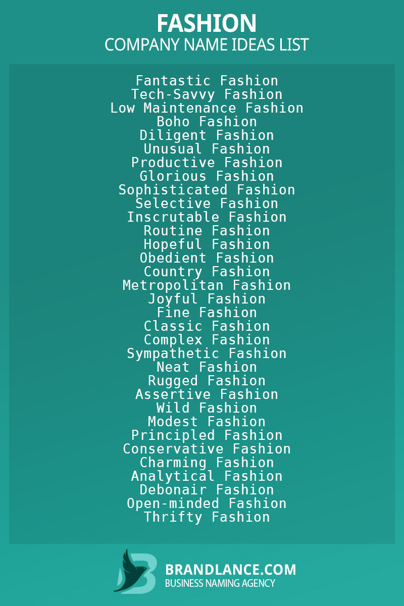 Fashion business naming suggestions from Brandlance naming experts