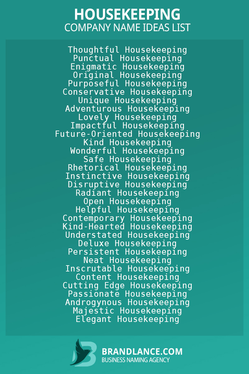Housekeeping business naming suggestions from Brandlance naming experts