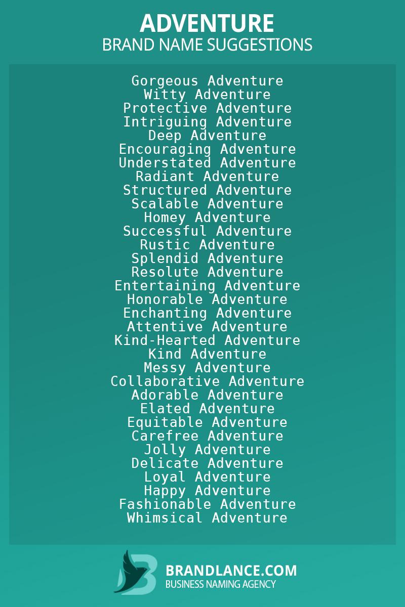 List of brand name ideas for newAdventurecompanies