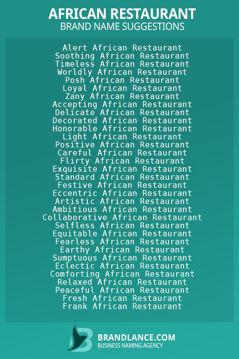 List of brand name ideas for newAfrican restaurantcompanies
