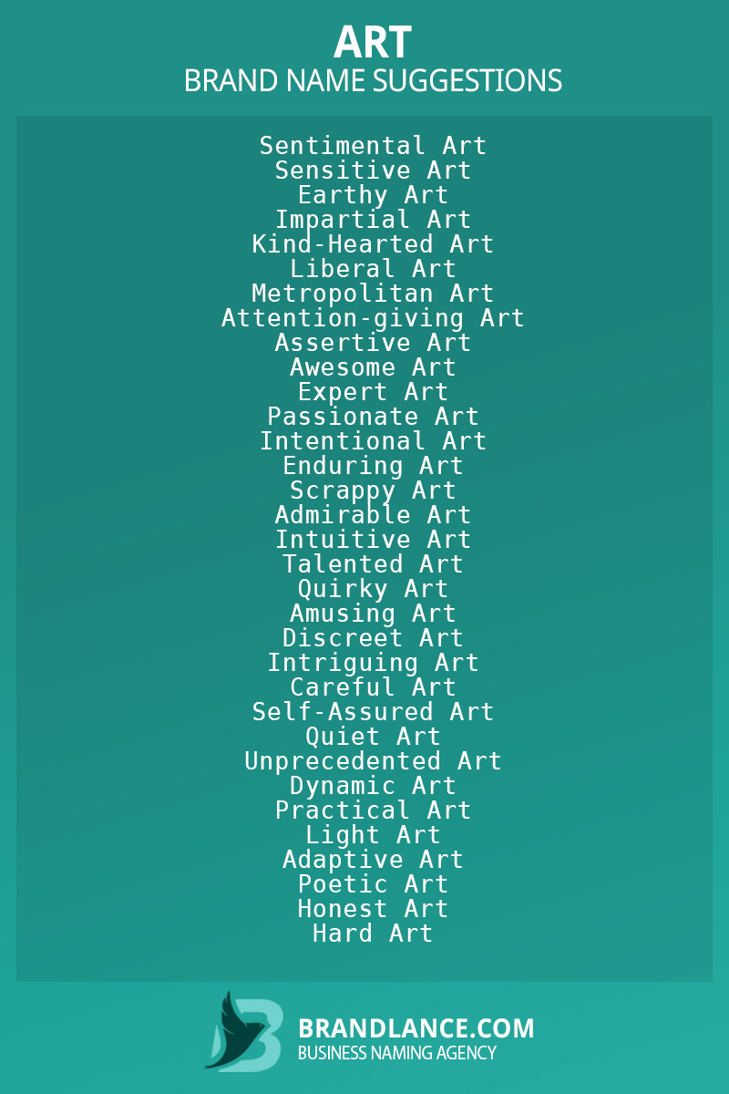 List of brand name ideas for newArtcompanies