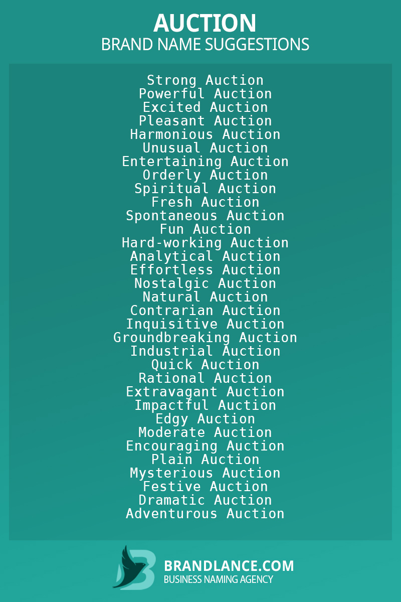 List of brand name ideas for newAuctioncompanies