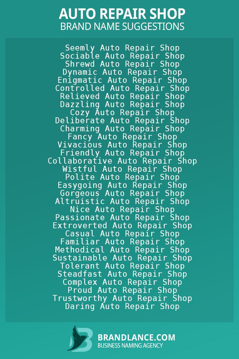 List of brand name ideas for newAuto repair shopcompanies