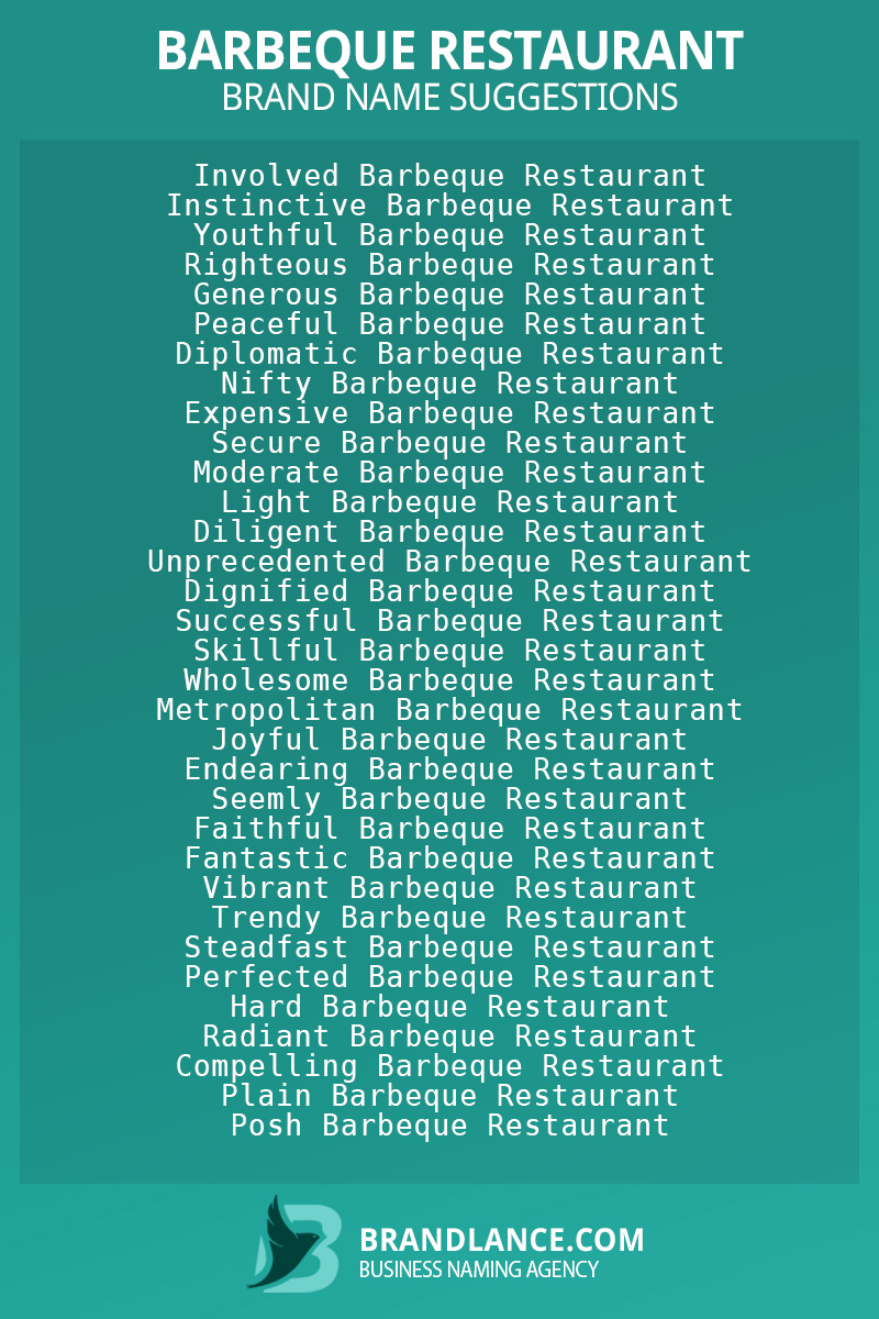 List of brand name ideas for newBarbeque restaurantcompanies