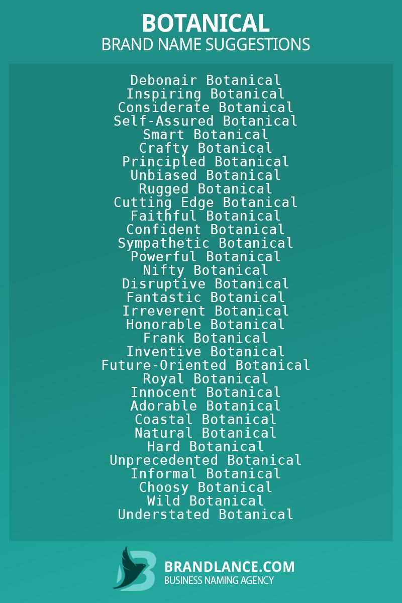 List of brand name ideas for newBotanicalcompanies