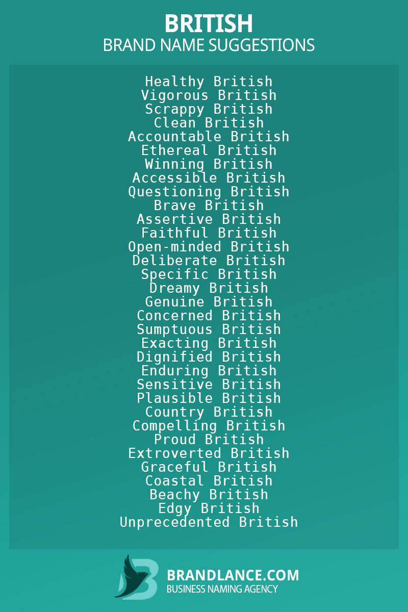 List of brand name ideas for newBritishcompanies