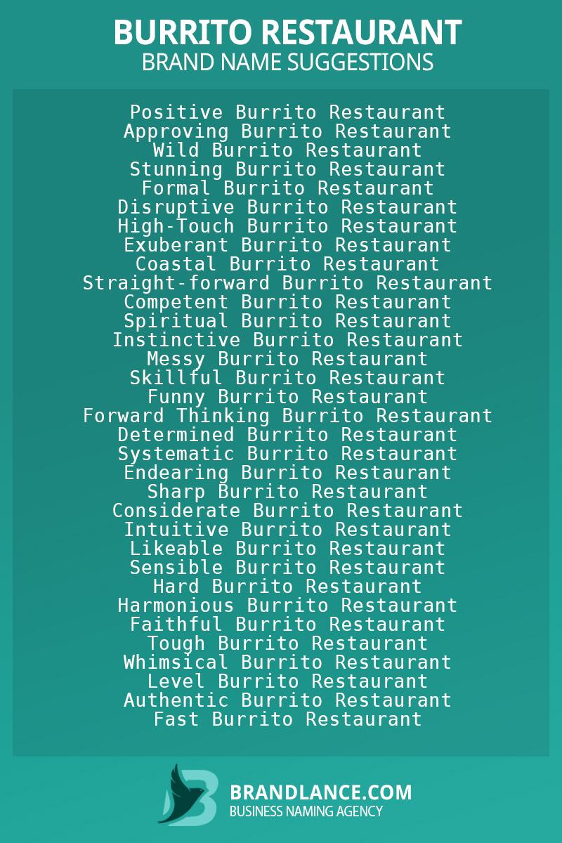 List of brand name ideas for newBurrito restaurantcompanies