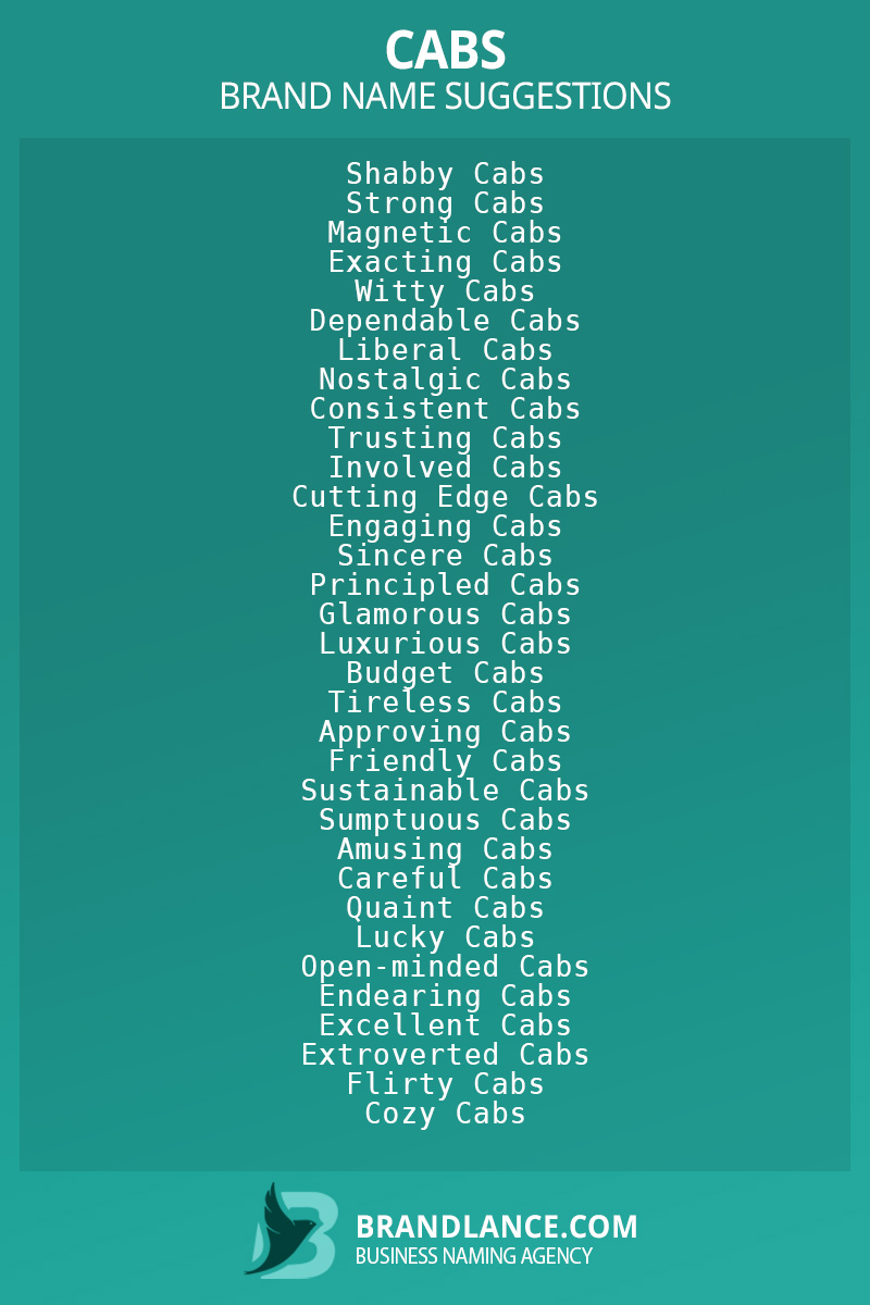 List of brand name ideas for newCabscompanies