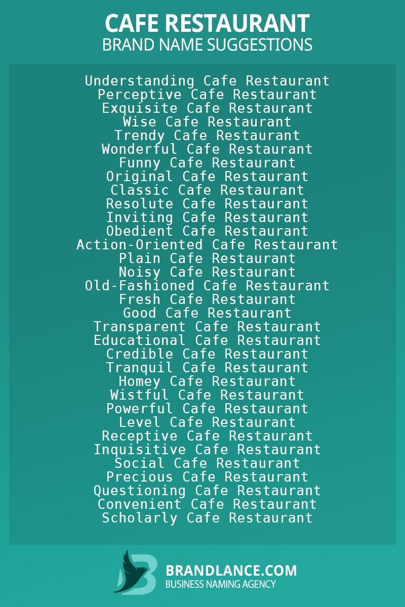List of brand name ideas for newCafe restaurantcompanies