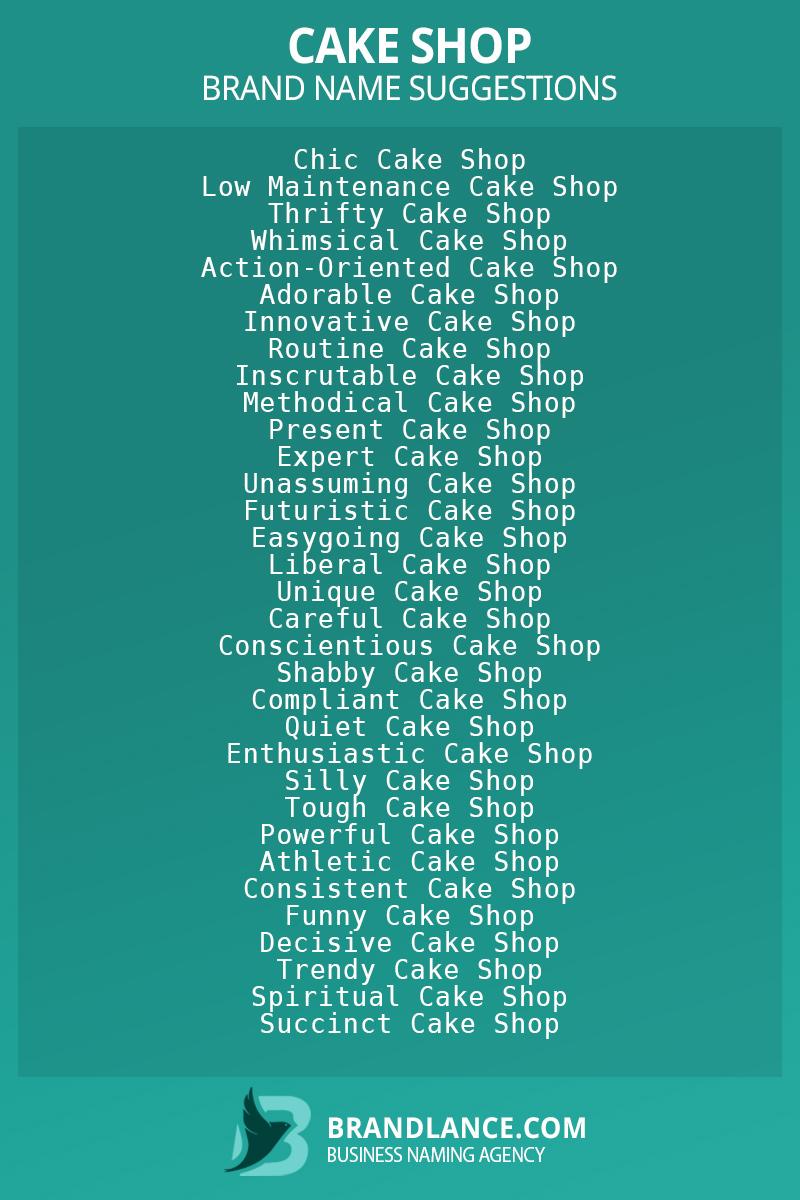 List of brand name ideas for newCake shopcompanies