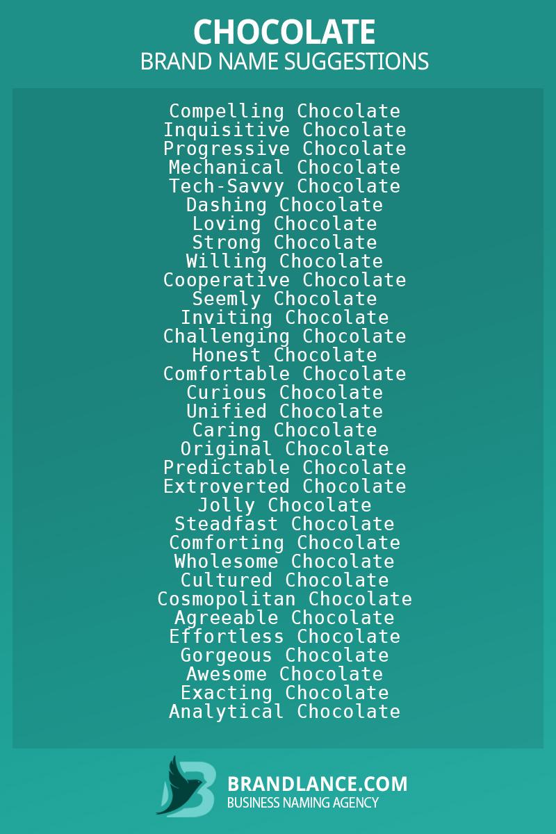 List of brand name ideas for newChocolatecompanies