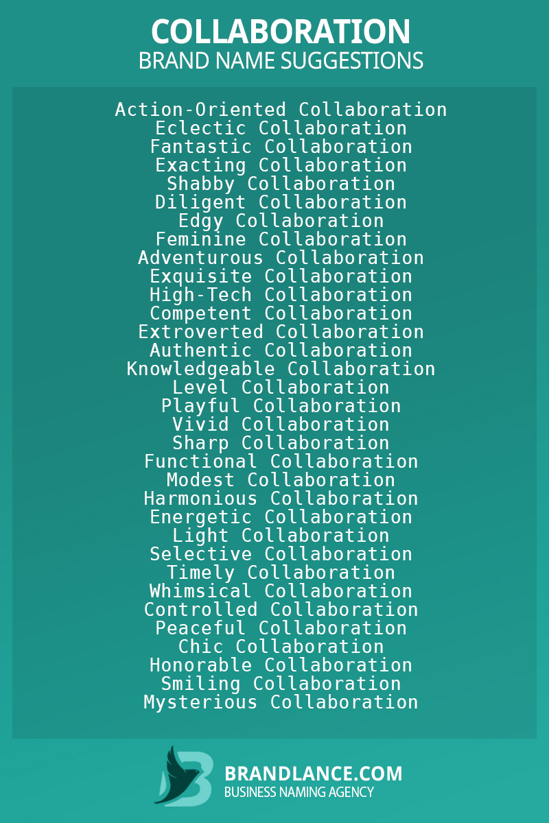 List of brand name ideas for newCollaborationcompanies