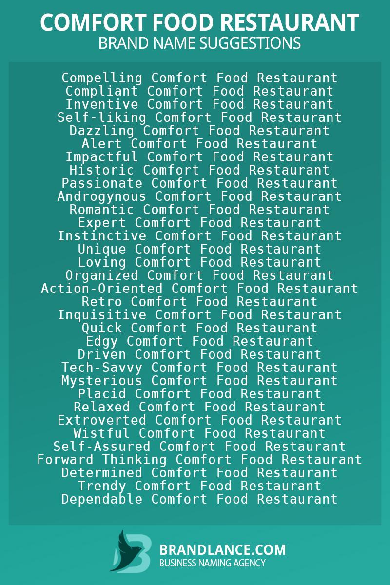 List of brand name ideas for newComfort food restaurantcompanies