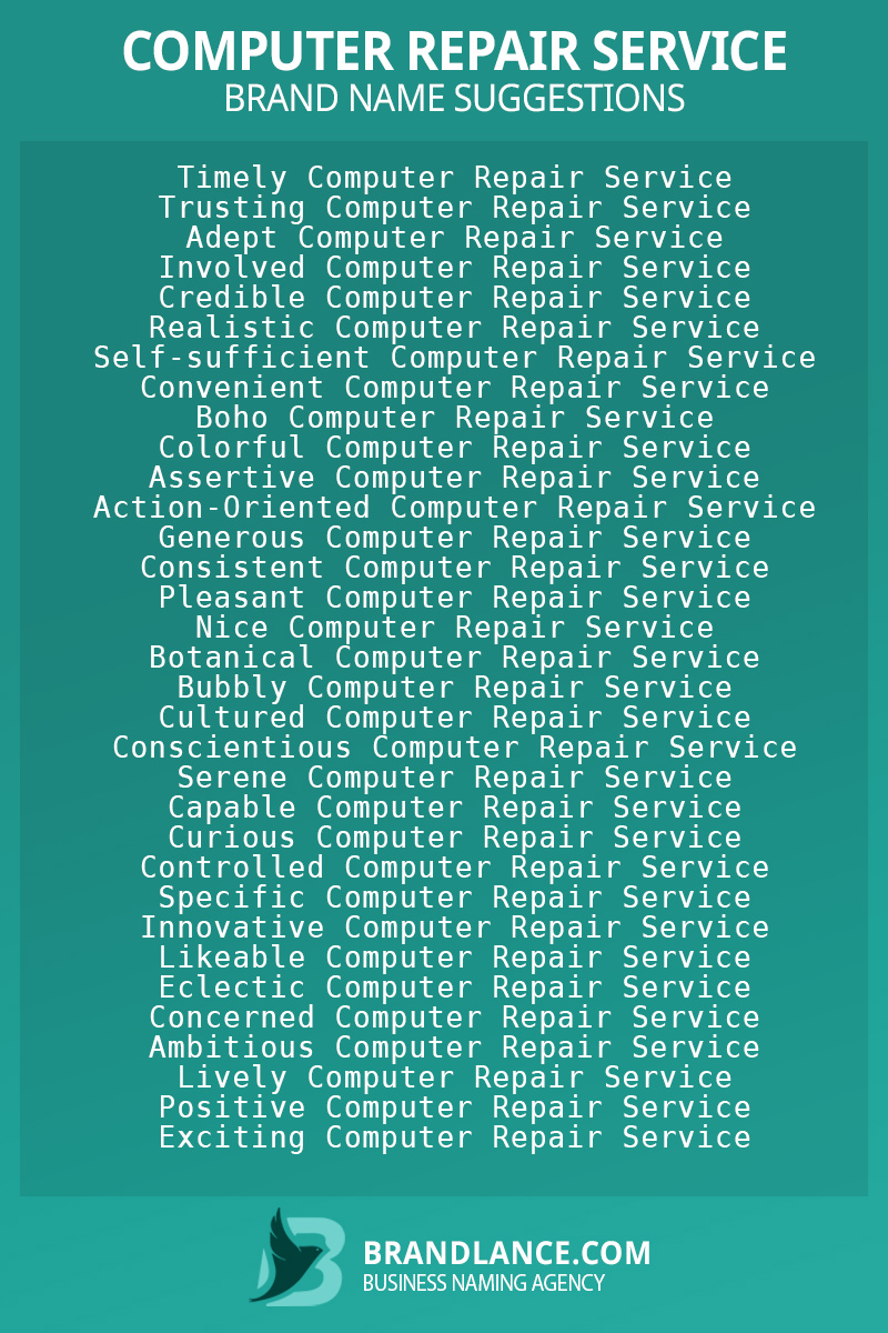 List of brand name ideas for newComputer repair servicecompanies