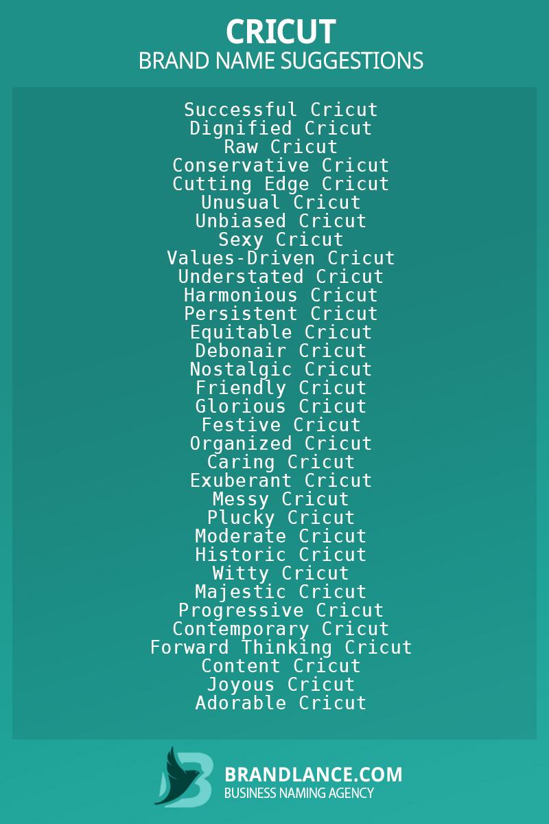 List of brand name ideas for newCricutcompanies