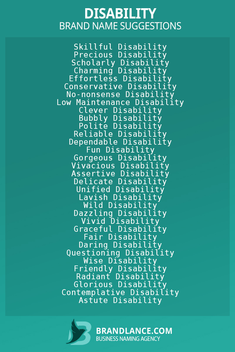 List of brand name ideas for newDisabilitycompanies