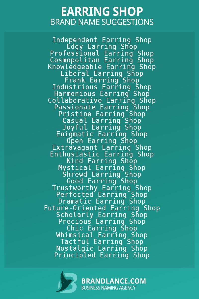 List of brand name ideas for newEarring shopcompanies