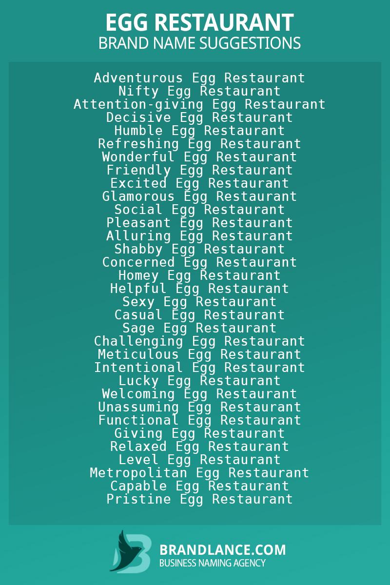 List of brand name ideas for newEgg restaurantcompanies