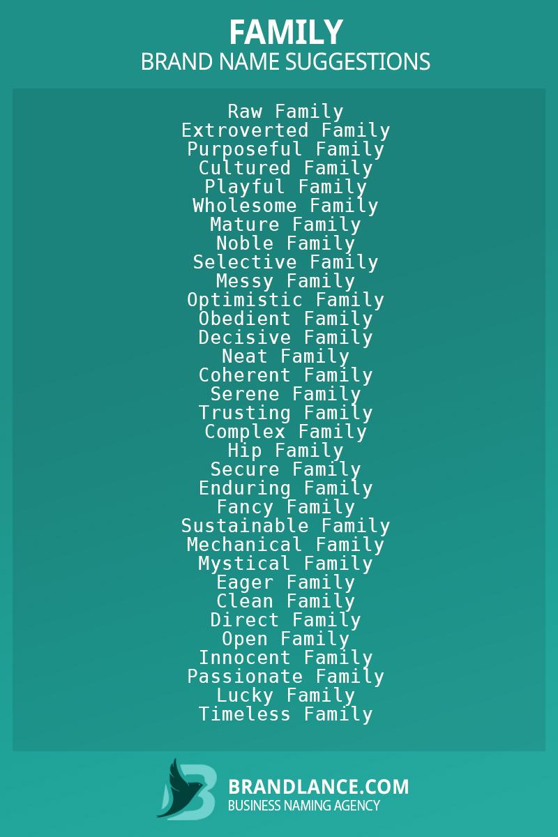 List of brand name ideas for newFamilycompanies