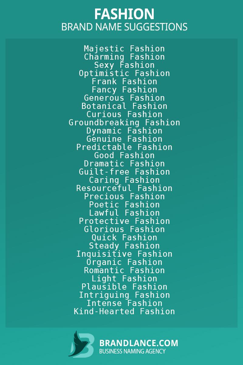 List of brand name ideas for newFashioncompanies