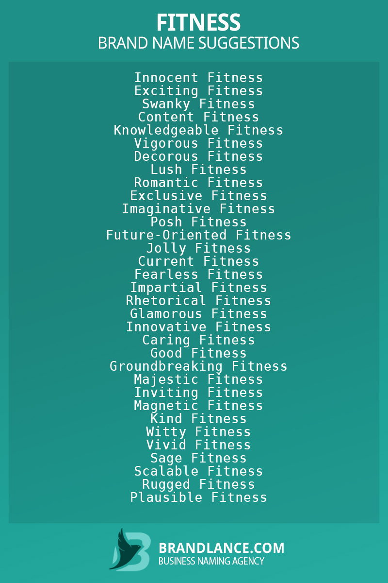 List of brand name ideas for newFitnesscompanies