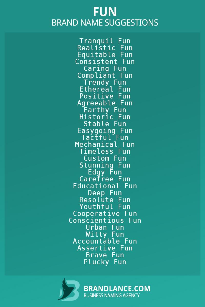 List of brand name ideas for newFuncompanies