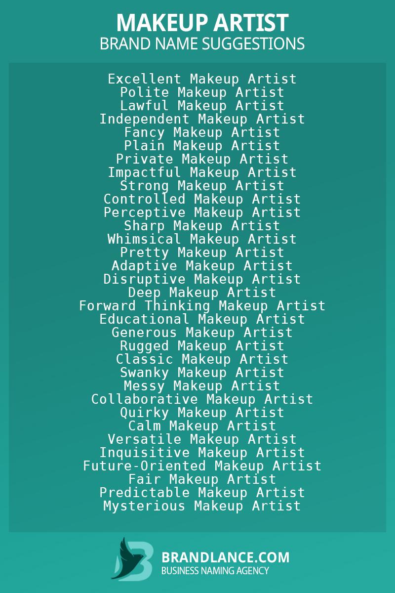 List of brand name ideas for newMakeup artistcompanies