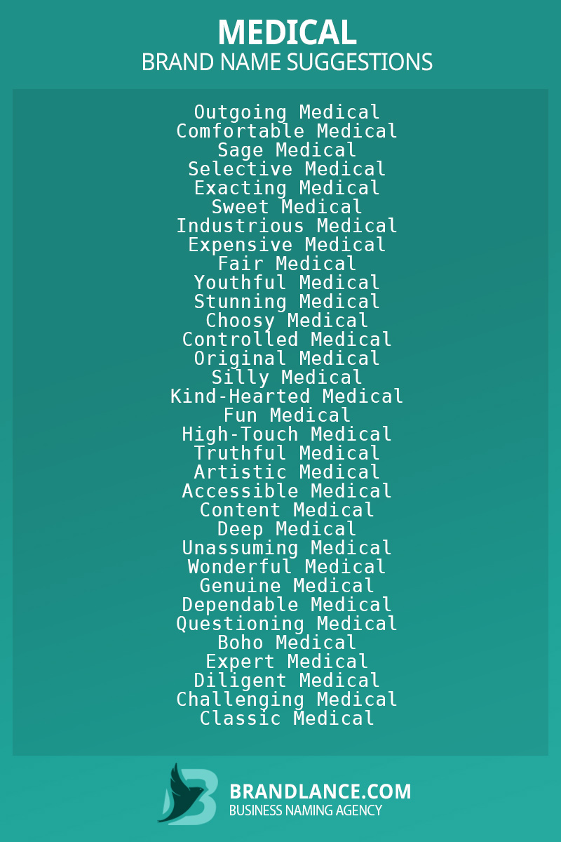 List of brand name ideas for newMedicalcompanies
