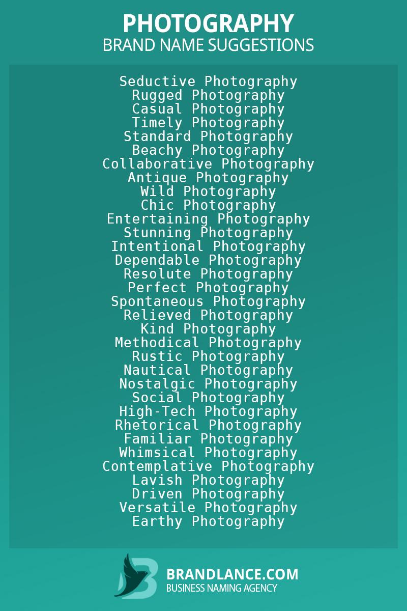 List of brand name ideas for newPhotographycompanies