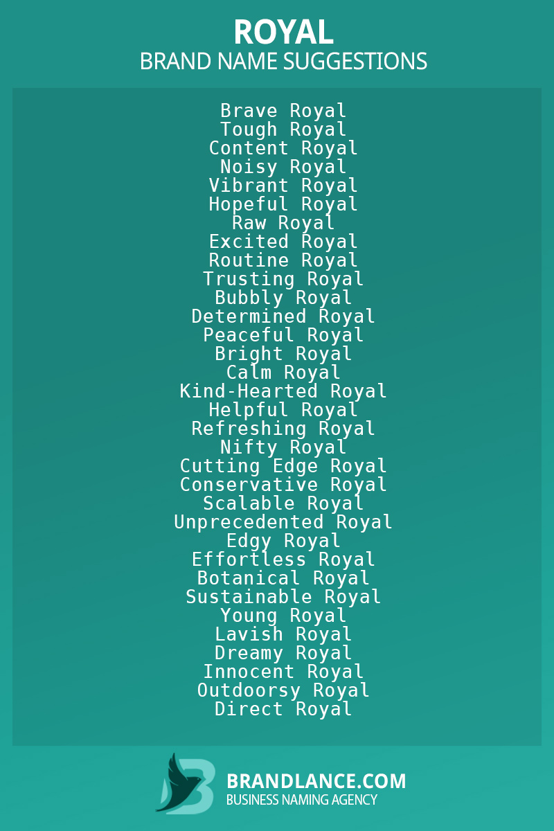 List of brand name ideas for newRoyalcompanies