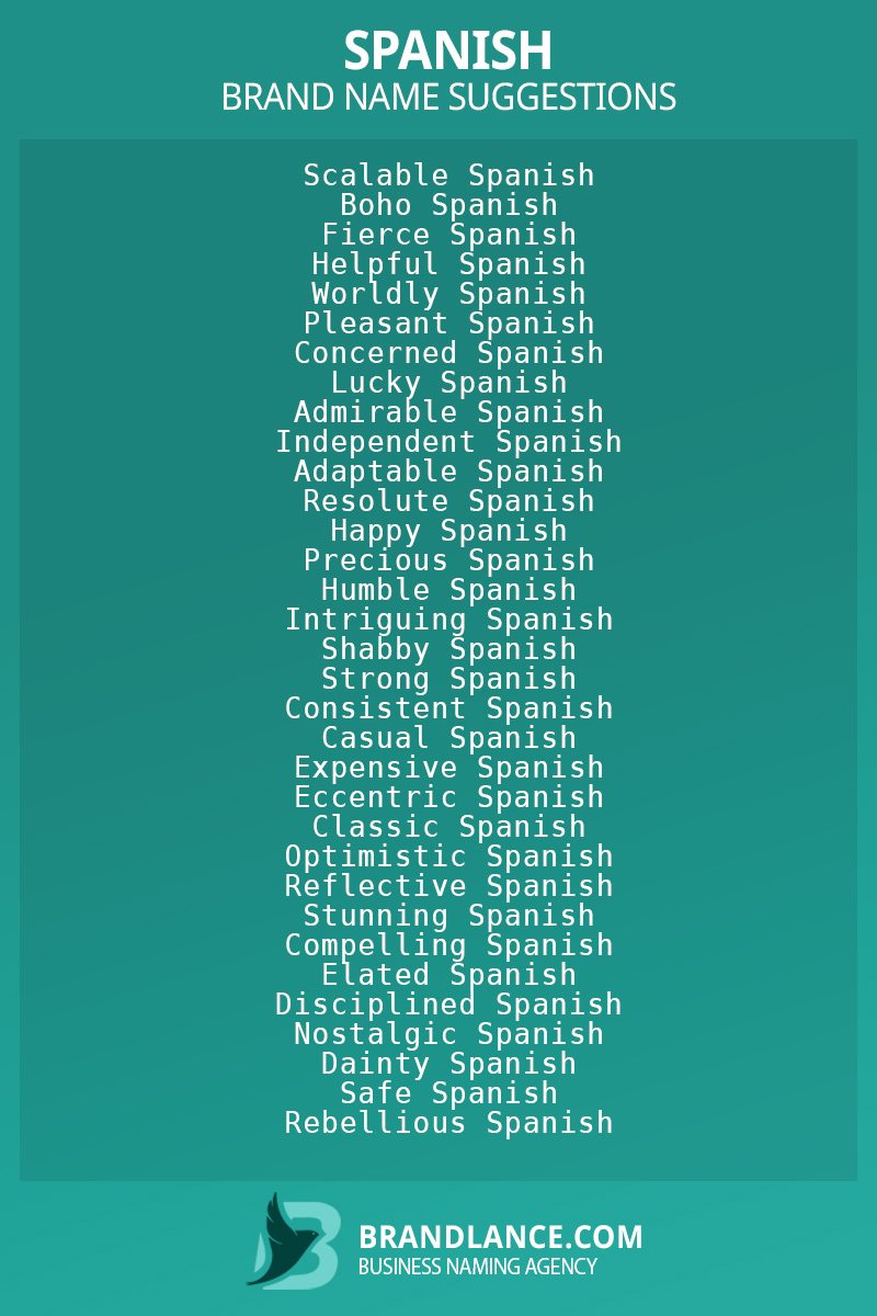 List of brand name ideas for newSpanishcompanies