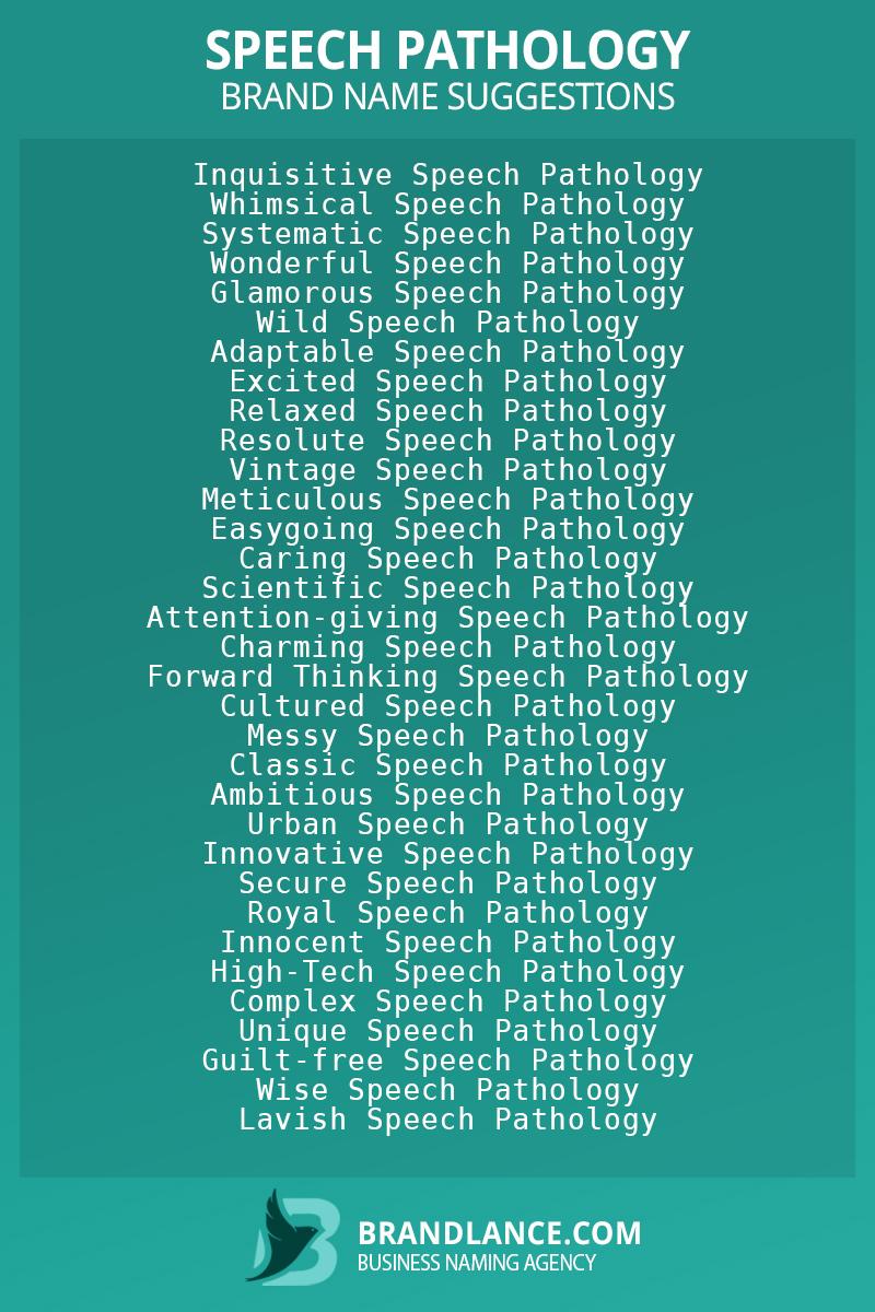 List of brand name ideas for newSpeech pathologycompanies
