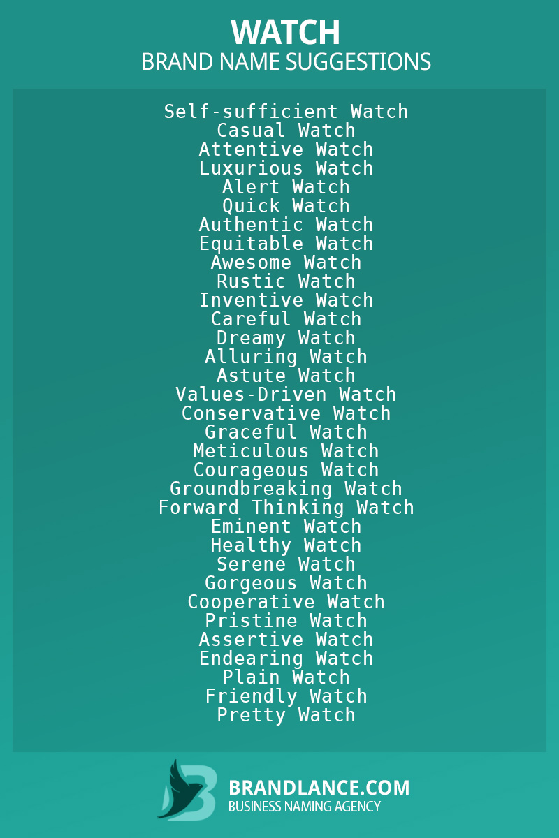 List of brand name ideas for newWatchcompanies