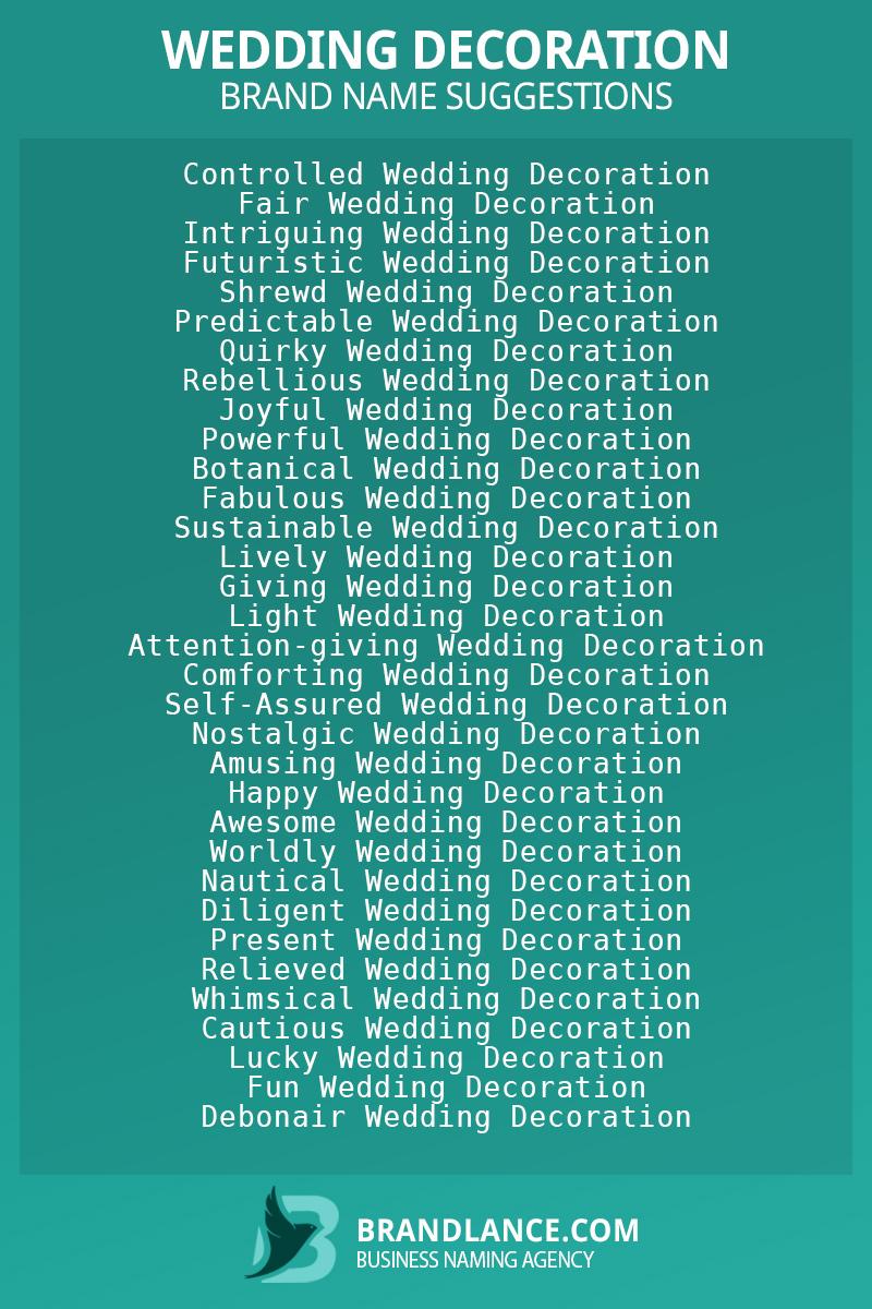 List of brand name ideas for newWedding decorationcompanies